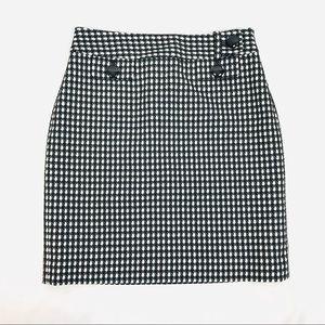 Ann Taylor checkered houndstooth wool blend skirt
